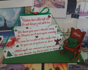 Christmas in Heaven Blocks with Chair (alternative poem) Memorial Gift