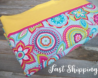 Girl Nap Mat Cover Cotton Floral/Pink & Yellow ***Choose your size!