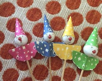 Set of Vintage Clown Party Picks, NIP