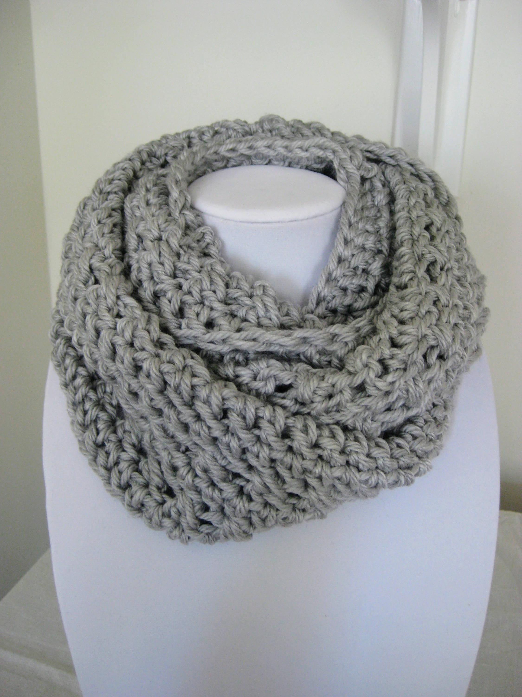 Crochet chunky cowl, gray scarf, crochet circle scarf, crochet cowl ...