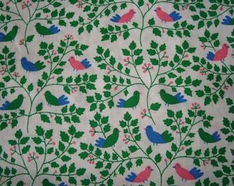 Cotton fabric vintage birds