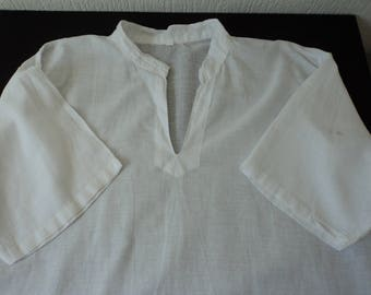 French vintage white cotton ladies blouse size large (05048)