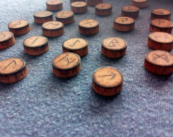 Ancient Futhark wooden Viking rune Set (Elder Futhark). Pyrography by hand.
