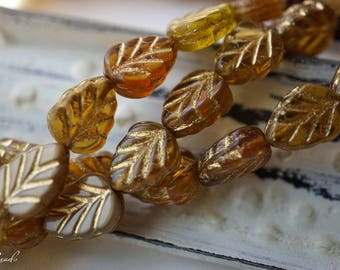 Leaf Beads, Czech Beads, N1807
