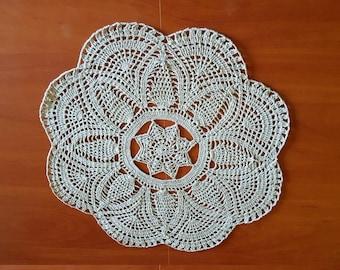 Grey round linen serviette / table-napkin / doily crocheted handmade, home decoration