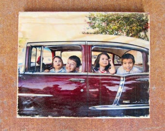 Photo transfer on solid wood 10 x 8 inch picture transfer