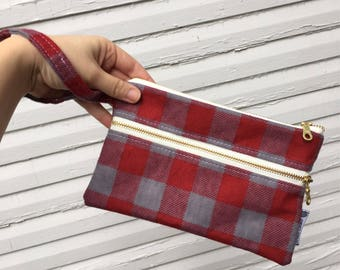 Red and Gray Buffalo Plaid Wristlet