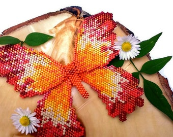 Sunset Scalloped Edged Beaded Butterfly Hairclip