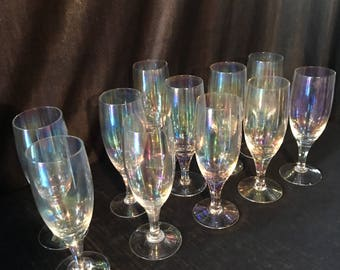 Vintage 1960's Carnvial glass Iridescent champagne flutes stemware set of 11