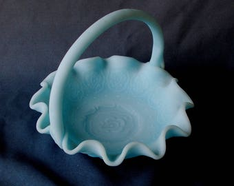 Fenton Basket, Blue Satin, Vintage