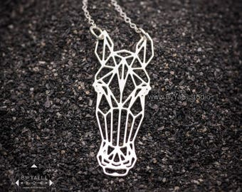 Horse necklace, silver geometric necklace with origami horse pendant, horse lovers gift, horse jewelry, animal necklace