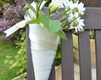 Chair Cones, Pew Cones, Flower holders for Chairs, Holders for flowers, Wedding Flowers, Church Pew ends, Ivory Chair Cones
