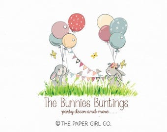 bunny logo rabbit logo party logo bunting logo balloon logo boutique logo baby shop logo children's logo photography logo pre made logo