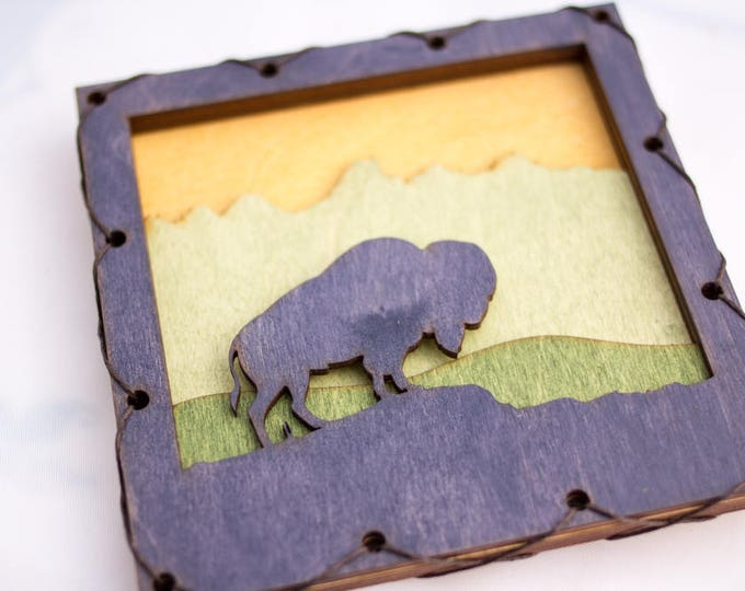 Bison Wood Wall Art with Rustic Style