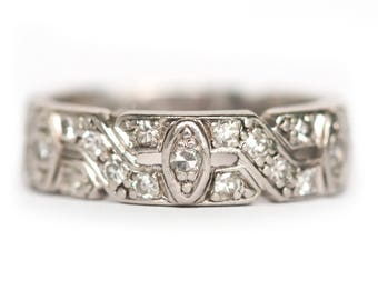 Circa 1930's Art Deco Platinum .50cttw Antique European Cut Diamond Wedding Band - VEG 893