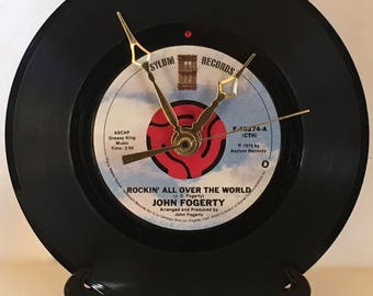 "Recycled JOHN FOGERTY 7"" Record • Rockin' All Over The World • Record Clock"