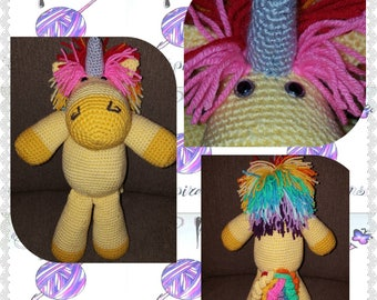 Crochet, cute & cuddly stuffed toy Unicorn