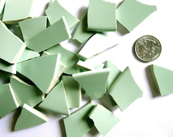50 Mint Green Mosaic Tiles, Mint Green Tiles, Green Ceramic Pieces, Green Ceramic Tiles,Broken China Mosaic Pieces, Mosaic Tiles Craft