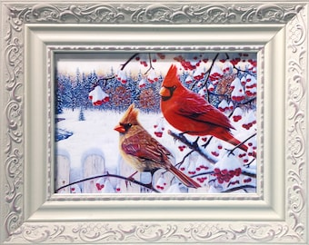 Framed Print - Two Cardinals On A Fence