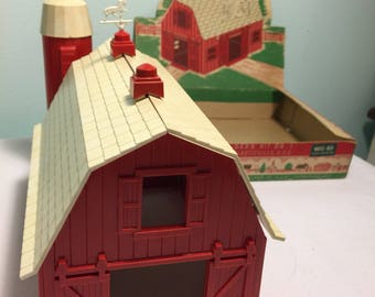 Vintage Plasticville train garden Barn kit -miniature railroad barn - Mid Century Plasticville - Christmas train garden barn - Bachmann Bros