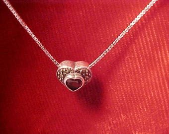 925 sterling silver 22 inch chain with heart (looks garnet) Italy