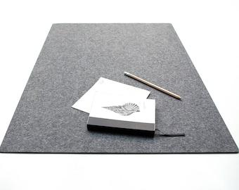 Gray Desk Pad  / Laptop Mat / Minimalism /Office Decor Deskie/ Computer Accessories /Felt Mat