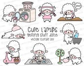 Premium Vector Clipart - Kawaii Lambs - Cute Lambs Planning Clipart - Instant Download - Kawaii Clipart - Cute Sheep