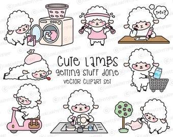Premium Vector Clipart - Kawaii Lambs - Cute Lambs Planning Clipart - Instant Download - Kawaii Clipart - Cute Sheep