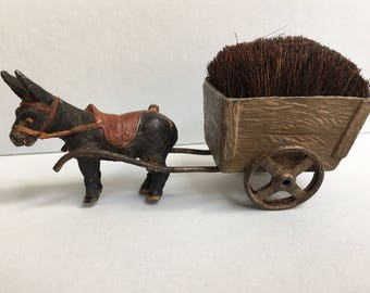 Amazing Victorian Pen Wipe in the form of a Donkey pulling a cart