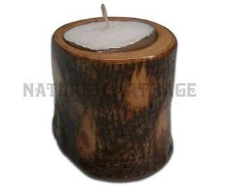 8 cm olive wood rustic candle holder. Olive Wood Candle Holder