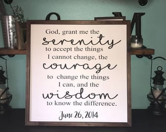 "Serenity Sign, God Grant me the serenity to accept the things I cannot, Wood Sign, Scripture Wall, Wall Hanging,  30""x30"""