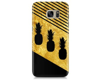 Case for Samsung Galaxy S7 S7 Edge Galaxy S8 Galaxy S8 Plus iPhone 7 iPhone 7 Plus LG G4 LG G5 Htc 10 Htc M9 Tropic Pineapples Gold Texture