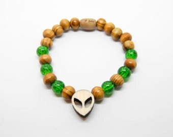 Wooden bracelet and alien glass Martian beads New
