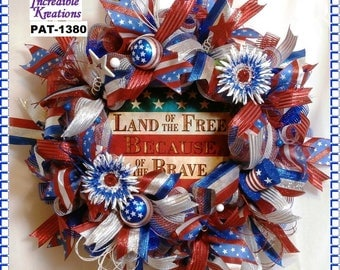Patriotic Wreath; Patriotic Commemoration Wreath; Excellent for Independence, Flag, Memorial, and Veterans Day;  Wreath for Front Door