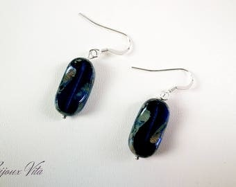 925 Silver earrings and glass bead