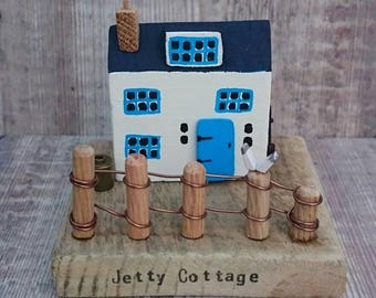 Coastal Cottage, Wood House, Driftwood Art, Driftwood House, Wood Ornament, Wood Sculpture, Beach Decor, Seaside Art, Recycled Wood Art