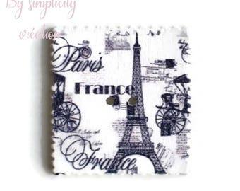 2 wooden buttons square retro Paris pattern