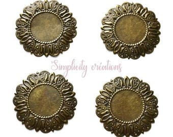 Support cabochon embellishment 50 set of 2 mm round