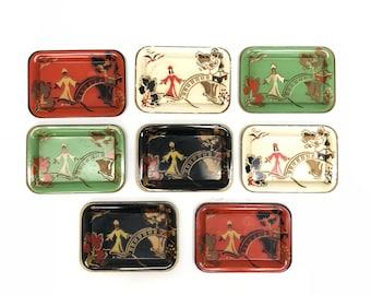 Set of 8 Mid Century Asian Trays