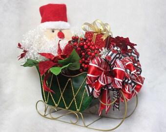Santa Sleigh Centerpiece, Christmas Table Decor, Ho Ho Ho Table Decor