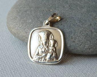 Vintage Sterling Silver Mother of God Pendant, Virgin Mary, Our Lady, Religious European Charm/Pendant, Catholic Religious Jewelry from 70's
