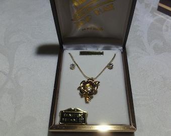 Vintage Rhinestone Gold Flower Necklace & Earrings (1960's)