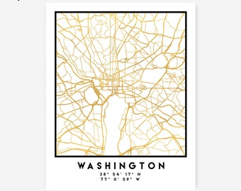 Washington D.C. Map Coordinates Print - Washington City Street Map Art Poster, Gold Washington Map Print, Washington Coordinates DC Poster