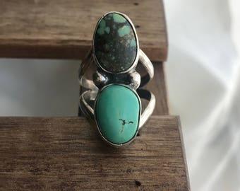 balance, turquoise ring, double turquoise ring, turquoise statement ring, everyday turquoise ring