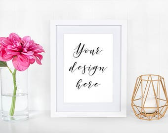 Frame Mockup, 8x10 Frame Mock Up Photography, White Frame Styled with Pink Flower, Girly landscape Mockup Stock Photo