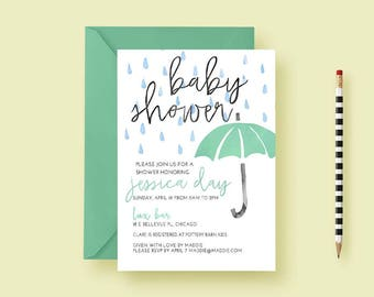 Watercolor Umbrella Baby Shower Invites, Coed Baby Shower Invitations, For  Boys, For Girls