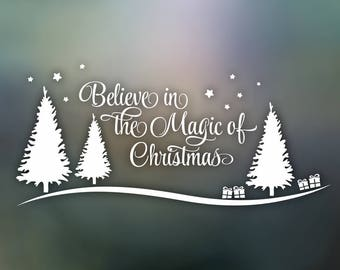 Believe Christmas Art Vinyl Decal Wall Sticker ClipArt (SVG, DXF, CDR) Silhouette Cameo Cricut Digital Cutting Instant Download