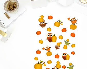 Fall Owl Stickers! Perfect for your Erin Condren Life Planner, calendar, Paper Plum, Filofax!