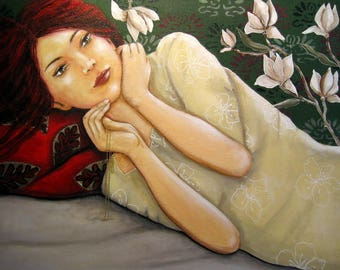 "painting, portrait of a woman with red hair ""what you think?"""