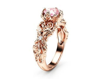 Peach Pink Moissanite Engagement Ring 14K Rose Gold Leaves Ring Moissanite Engagement Ring